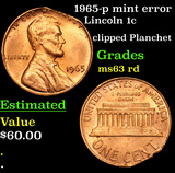 1965-p mint error Lincoln Cent 1c Grades Select Unc RD