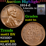***Auction Highlight*** 1914-d Lincoln Cent 1c Graded Select Unc BN By USCG (fc)