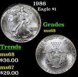 1986 Silver Eagle Dollar $1 Grades GEM+++ Unc