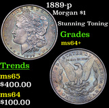 1889-p Morgan Dollar $1 Grades Choice+ Unc