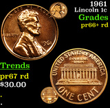 1961 Lincoln Cent 1c Grades Gem+= Proof Red