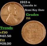 1912-s Lincoln Cent 1c Grades f+