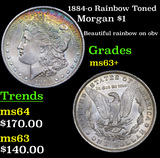 1884-o Rainbow Toned Morgan Dollar $1 Grades Select+ Unc