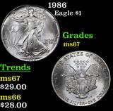1986 Silver Eagle Dollar $1 Grades GEM++ Unc
