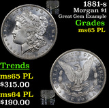 1881-s Morgan Dollar $1 Grades GEM Unc PL