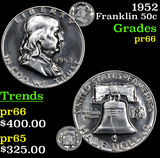 1952 Franklin Half Dollar 50c Grades GEM+ Proof
