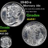 1940-s Mercury Dime 10c Grades Choice+ Unc