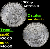 1886-p Morgan Dollar $1 Grades Unc Details