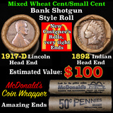 Mixed small cents 1c orig shotgun roll, 1917-d Wheat Cent, 1892 Indian Cent other end