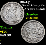 1854-p Seated Liberty Dime 10c Grades vf details