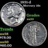 1931-d Mercury Dime 10c Grades Select AU