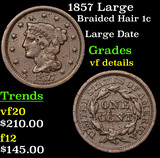 1857 Large Braided Hair Large Cent 1c Grades vf details