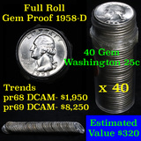 1958-d Washington Quarter 25c roll, 40 pieces