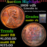 ***Auction Highlight*** 1909 vdb Lincoln Cent 1c Graded GEM++ RB By USCG (fc)