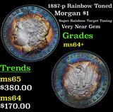 1887-p Rainbow Toned Morgan Dollar $1 Grades Choice+ Unc