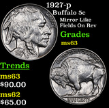 1927-p Buffalo Nickel 5c Grades Select Unc