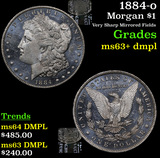1884-o Morgan Dollar $1 Grades Select Unc+ DMPL