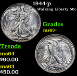 1944-p Walking Liberty Half Dollar 50c Grades Select+ Unc