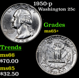 1950-p Washington Quarter 25c Grades GEM+ Unc