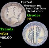 1925-d Mercury Dime 10c Grades f+