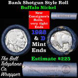 Buffalo Nickel Shotgun Roll in Old Bank Style 'Bell Telephone'  Wrapper 1928 & d Mint Ends