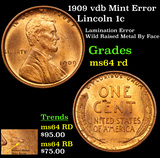 1909 vdb Mint Error Lincoln Cent 1c Grades Choice Unc RD