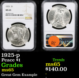 NGC 1925-p Peace Dollar $1 Graded ms65 By NGC