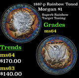 1887-p Rainbow Toned Morgan Dollar $1 Grades Choice Unc