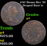 1797 Stems Rev '97 Draped Bust Large Cent 1c Grades g, good