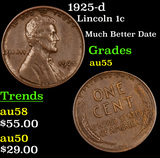 1925-d Lincoln Cent 1c Grades Choice AU