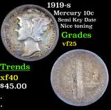 1919-s Mercury Dime 10c Grades vf+