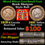 Mixed small cents 1c orig shotgun roll, 1919-s Wheat Cent, 1891 Indian Cent other end