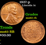 1927-p Lincoln Cent 1c Grades Select Unc RB