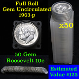 1963-p Roosevelt 10c roll, 50 pieces