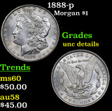 1888-p Morgan Dollar $1 Grades Unc Details