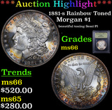 ***Auction Highlight*** 1881-s Rainbow Toned Morgan Dollar $1 Graded GEM+ Unc By USCG (fc)