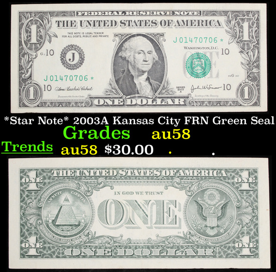 *Star Note* 2003A Kansas City FRN Green Seal Grades