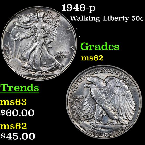 1946-p Walking Liberty Half Dollar 50c Grades Select Unc