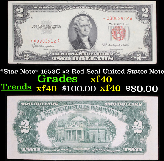 *Star Note* 1953C $2 Red Seal United States Note Grades