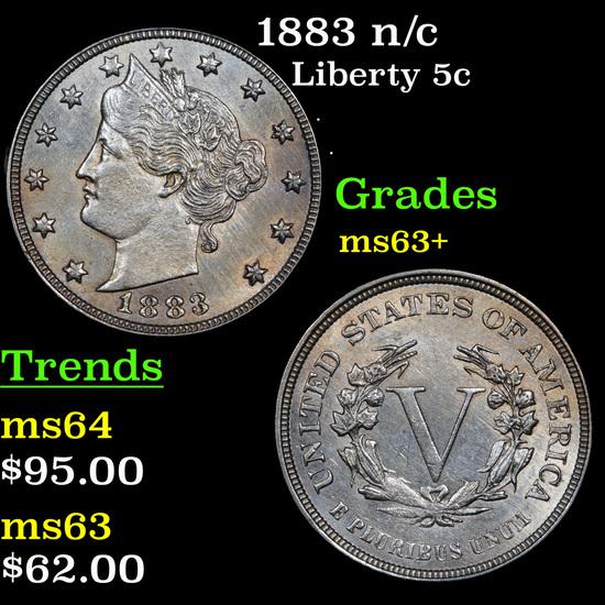 1883 n/c Liberty Nickel 5c Grades Select+ Unc