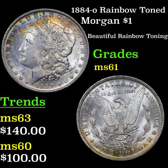 1884-o Rainbow Toned Morgan Dollar $1 Grades BU+