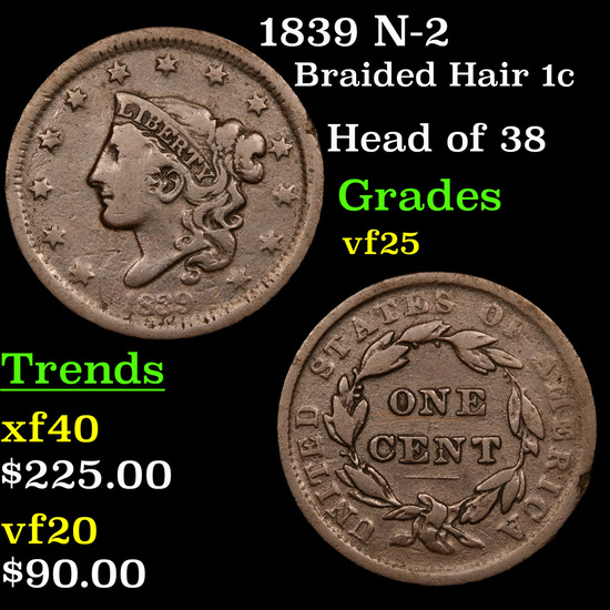 1839 N-2 Braided Hair Large Cent 1c Grades vf+