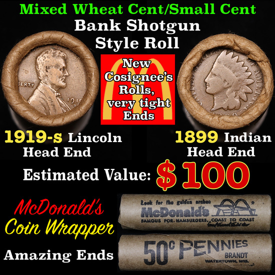 Mixed small cents 1c orig shotgun roll, 1919-s Wheat Cent, 1899 Indian Cent other end,McDnalds Wrapp
