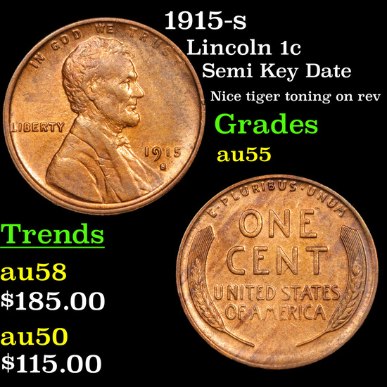 1915-s Lincoln Cent 1c Grades Choice AU