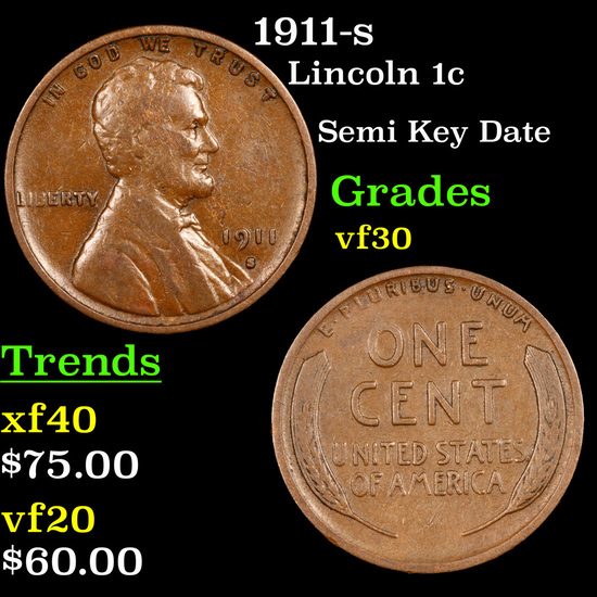 1911-s Lincoln Cent 1c Grades vf++