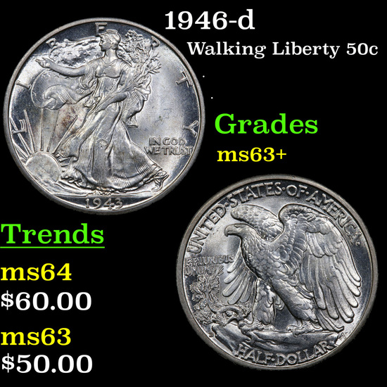1946-d Walking Liberty Half Dollar 50c Grades Select+ Unc