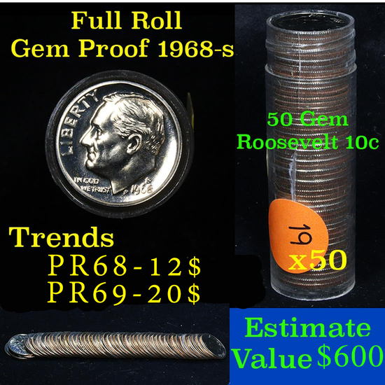 1968-s Roosevelt 10c proof roll, 50 pieces (fc)