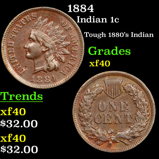 1884 Indian Cent 1c Grades xf