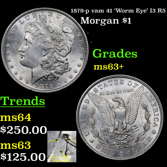1879-p vam 41 'Worm Eye' I3 R5 Morgan Dollar $1 Grades Select+ Unc