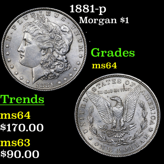 1881-p Morgan Dollar $1 Grades Choice Unc